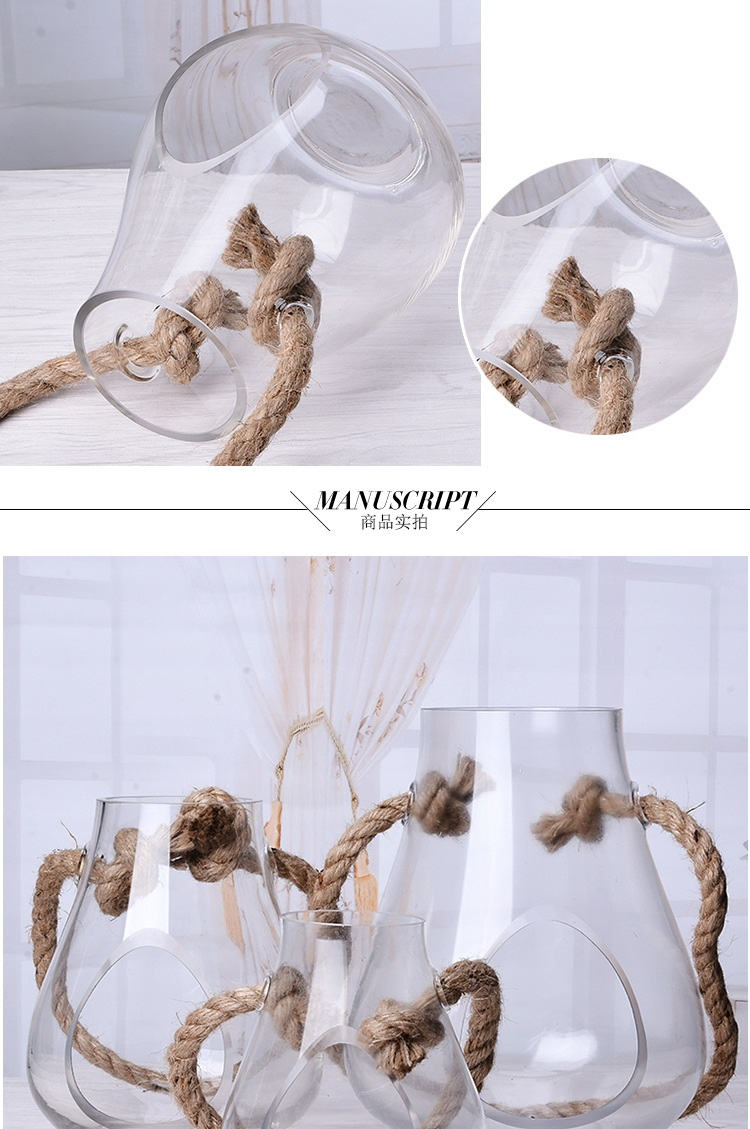Wholesale Home Decoration  Glass  Hydroponics Planter  vase shape Candle Holder With Hole & Hemp Rope for Decoration