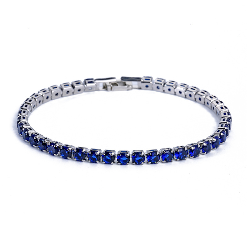 Women Jewelry Rhodium Plated Round Shape 4mm Cubic Zirconia <strong>CZ</strong> <strong>Tennis</strong> <strong>Bracelet</strong>