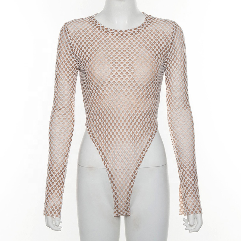 In stock 2020 New spring Women's Round Neck Long Sleeve sexy Mesh Slim Bodysuit