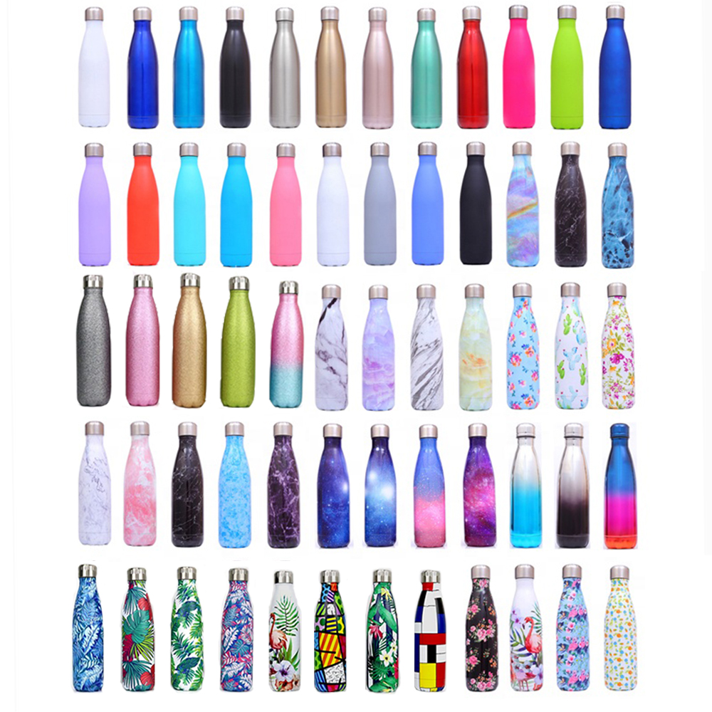 Eco friendly vacuum sport double wall copper stainless steel thermo cola shape drink insulated water bottles with custom logo, Customized color
