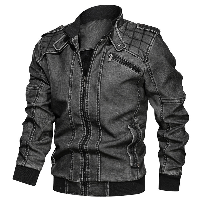 European <strong>Style</strong> Mens Big Size <strong>Military</strong> Tactical <strong>Jackets</strong> Casual Zip Up Stand Collar Biker PU Leather