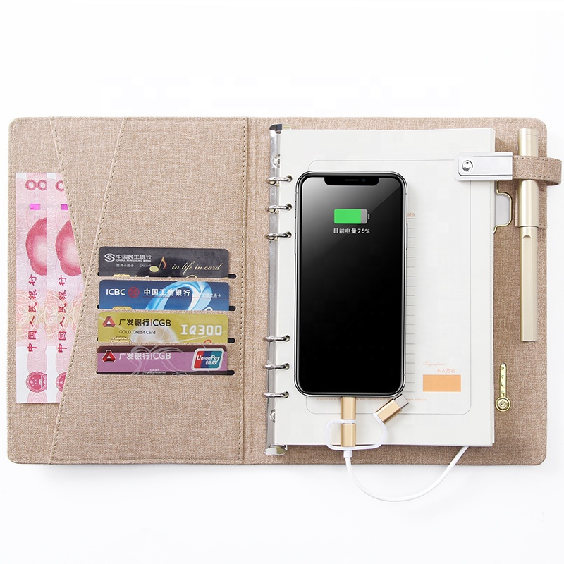 Wholesale Powerbank Planner Luxury Pu Leather notebook with usb flash