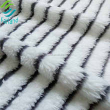 shu velveteen black and white striped knit knitted wool fleece fabric for winter