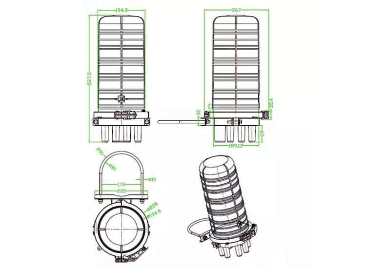 Precio de fábrica tipo cúpula 288 núcleo de fibra óptica de cierre de empalme
