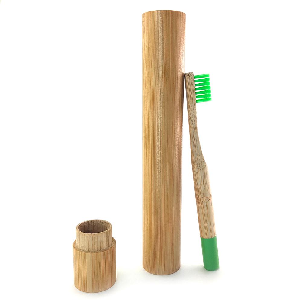 Berkualitas Tinggi Berwarna-warni Bambu Sikat Gigi Portable Tube Custom Reusable Bambu Sikat Gigi