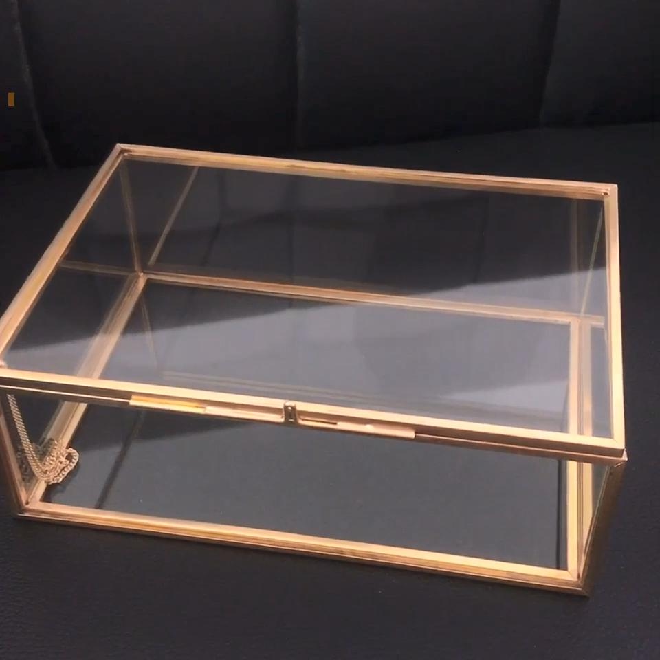 Oro gioielli scatole di imballaggio di vetro in ottone personalizzato con struttura in metallo