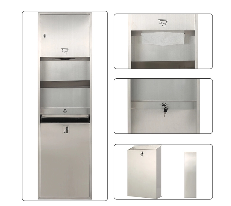 Hand Paper Holder Public Bathroom Wall Mounted Stainless Steel Bin Storage Bucket without Lid with Trash Bin for Toilet