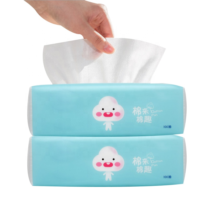 Soft Pure Natural Cotton Facial Tissue Wet and Dry Spunlace cotton wipes dry