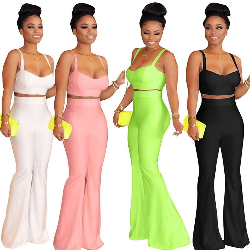 two piece set Summer crop tops and wide leg pants casual knitting matching sets womens clothing
