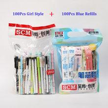 100 шт./компл. SCM корейские креативные гелевые ручки 0,38 мм 0,5 мм наконечник гелевая ручка Kawaii для подарка студент, школа, офис Канцтовары(Китай)