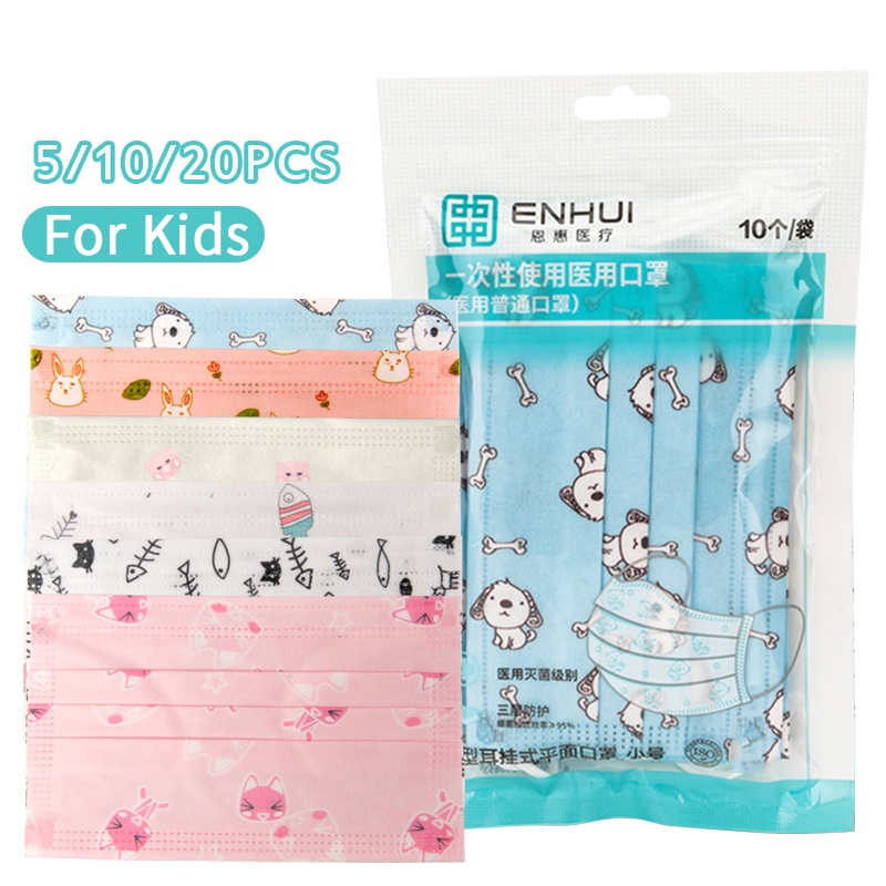 Hot sale 3 layers medical protective face mask kids reusable cartoon printing children kids medical-face-mask