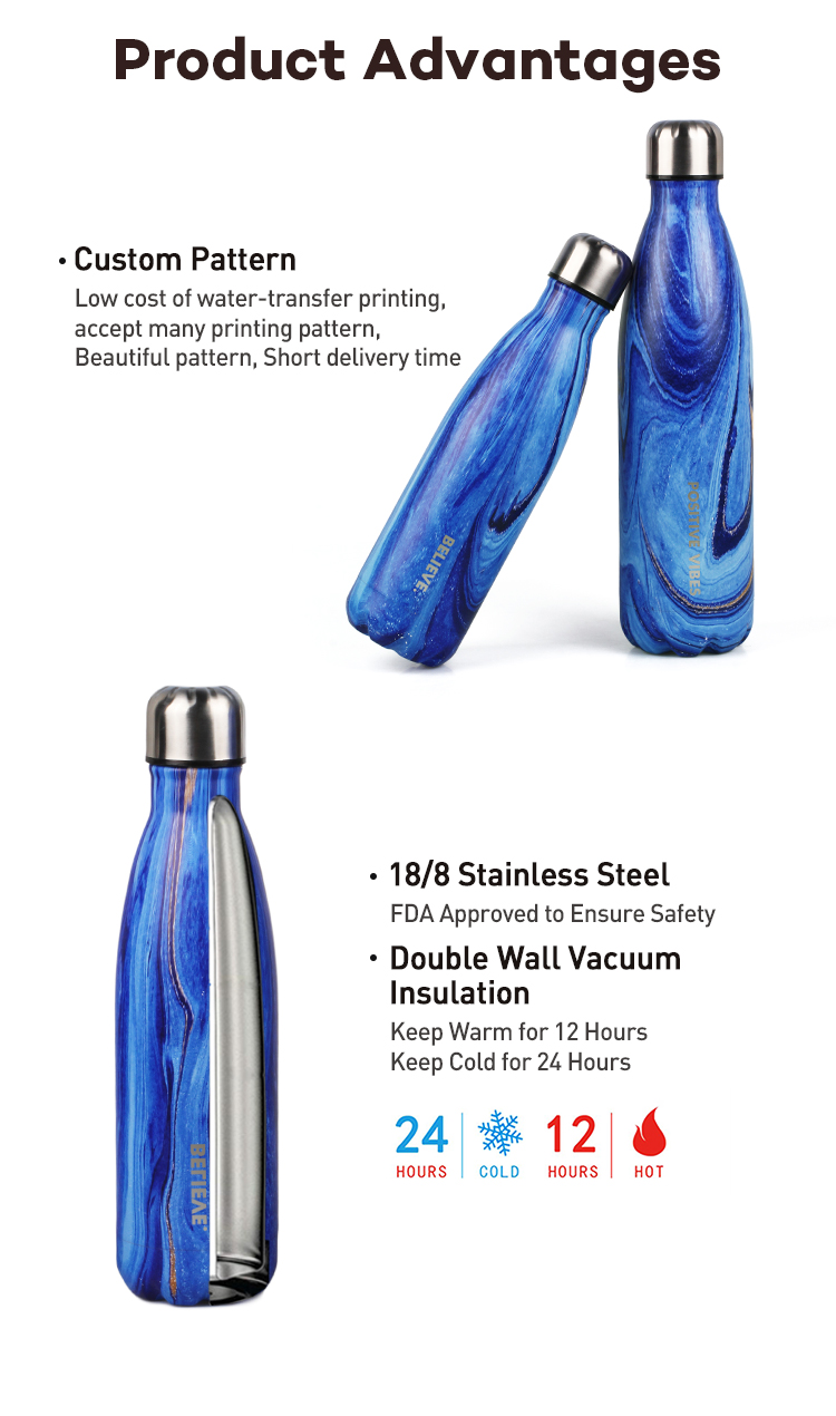 Customized Full Color 18/8 Double Wall Vacuum Insulated Stainless Steel Coke Water Bottle Sports