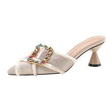 HKXN; комнатные тапочки; новые летние с заостренным носком, со стразами женские шлепанцы на высоком каблуке Женские сандалии модная обувь на т...(Китай)
