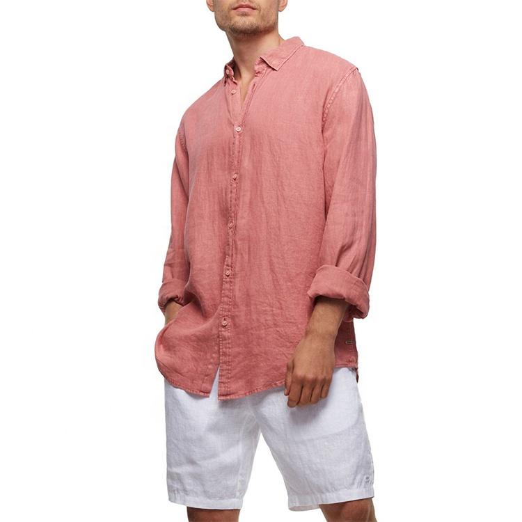 Custom Wholesale New Summer Fashion Cassis Linen Long Sleeve Mens Casual Shirt