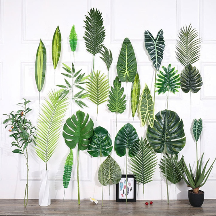 T279 Hanging Greenery Natural <strong>Green</strong> Leaf <strong>Artificial</strong> Fern Banana Palm <strong>Artificial</strong> <strong>leaves</strong> For Flower Floral Arrangements Decoration