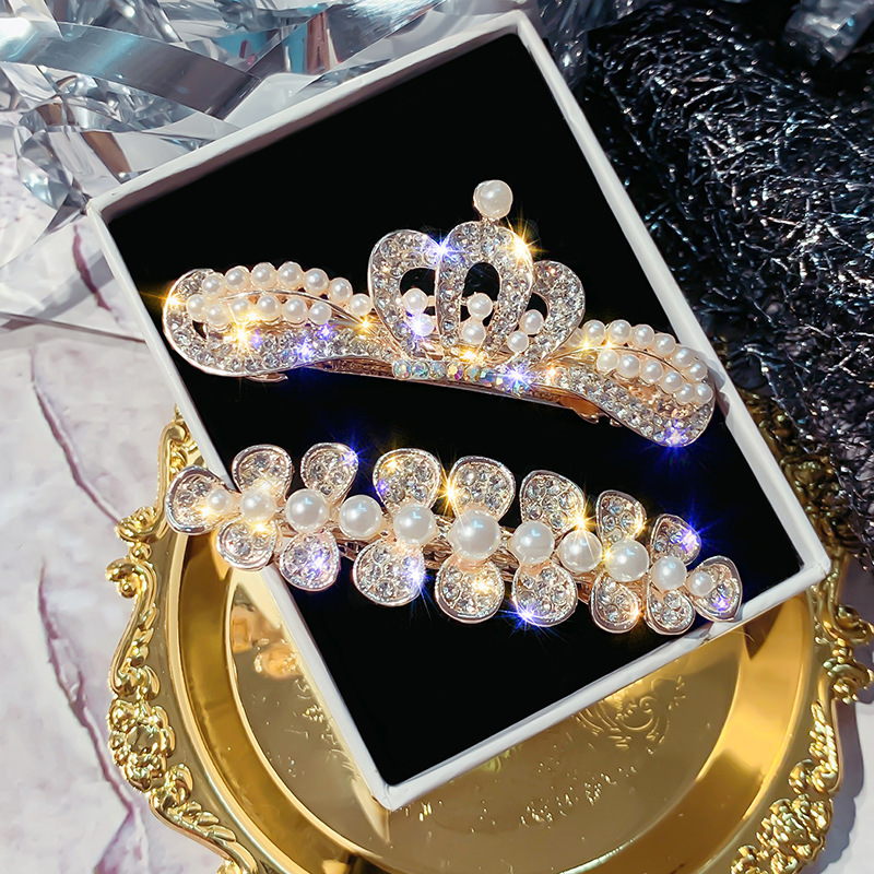HFM007 Trade assurance 2019 new design New crown shape pearl hairpin shiny zircon clip bangs clip female hair  jewelry