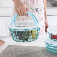 3PCS ROUND Plastic Fresh Keeping Crisper Refrigeration Food Storage Container PP storage BPA free