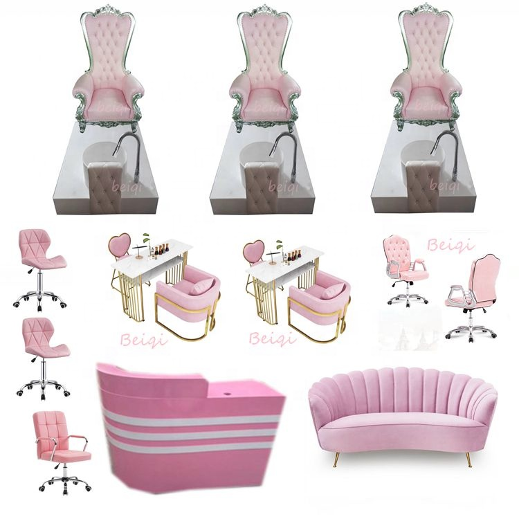 Luxury Pedicure Spa Massage Chair for Nail Salon Pink Throne Pedicure Chairs Cheap Foot Bath Massage Chair