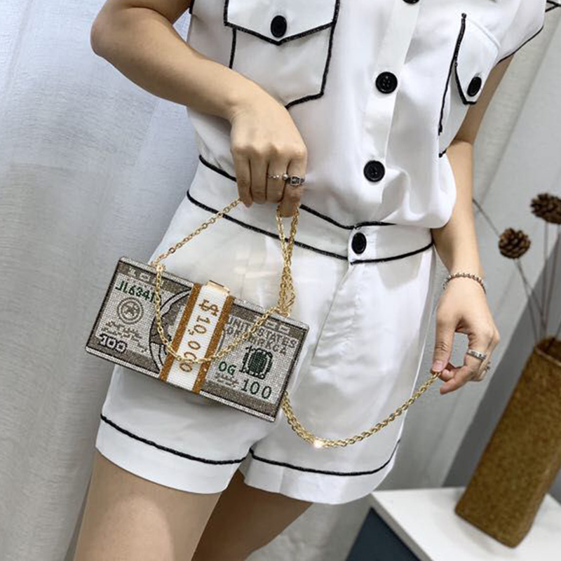 China Big Factory Good Price money pvc bag purse rhinestone Lowest In stock