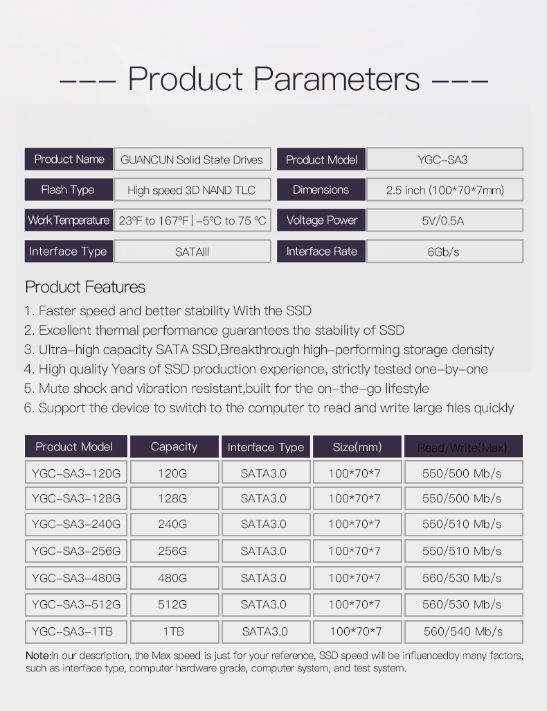 GuanCun toptan 2.5 sata iii SSD 120G/128G/240G/256G/480G/5121TBSolid hal sürücü