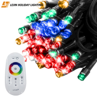 LJ string lights rgb multicolored 10m 100 led rubber wire with remote lighting function