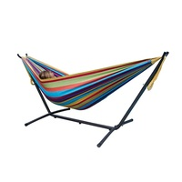 Outdoor Garden Adult Iron Folding Hammock Stand Cotton Hanging Swing Bed Hammock with Metal Frame
