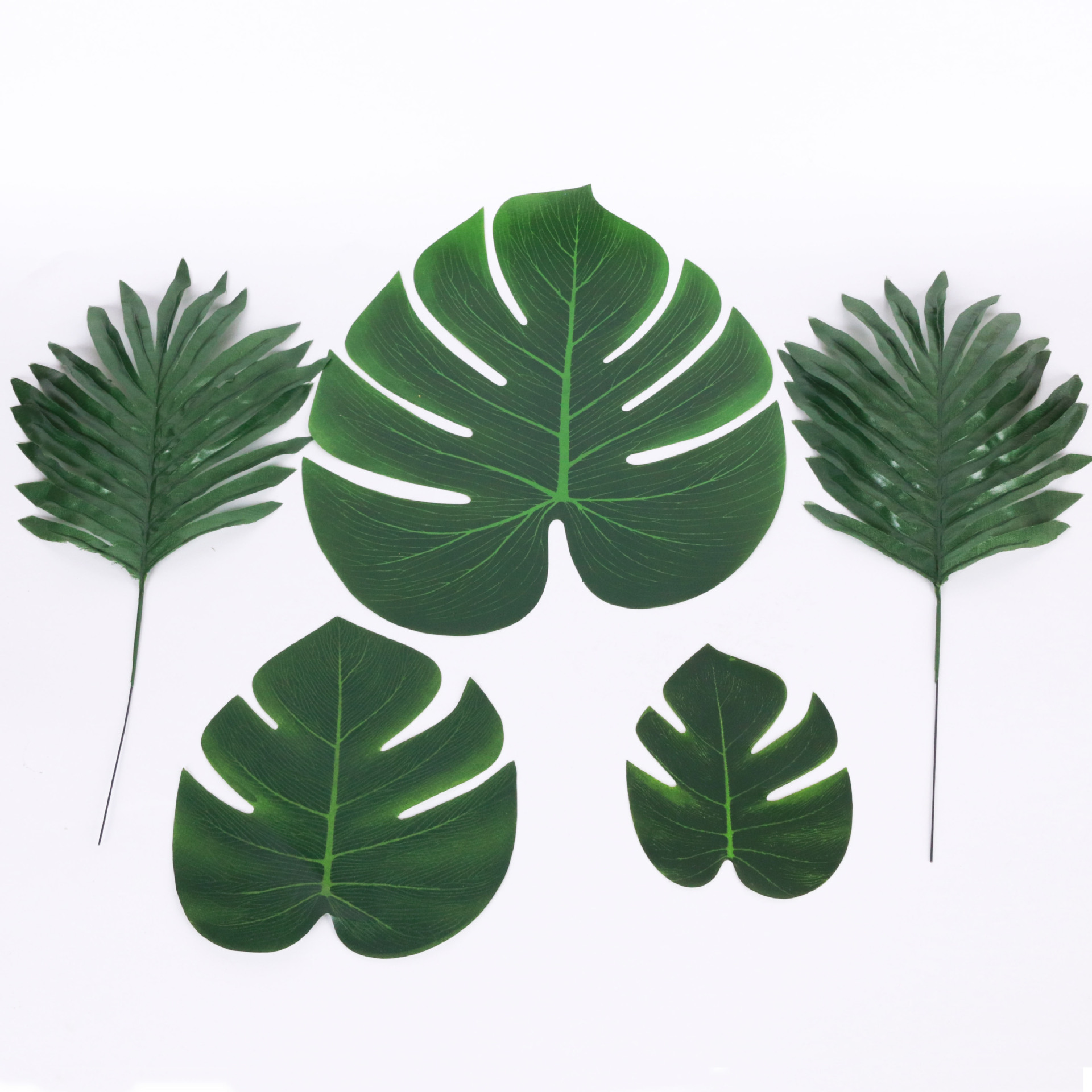 Green Color Tropical Iron Leaves Hibiscus With Stem Leaf Set Party Cocktail Reception Table Beach Decoration Set