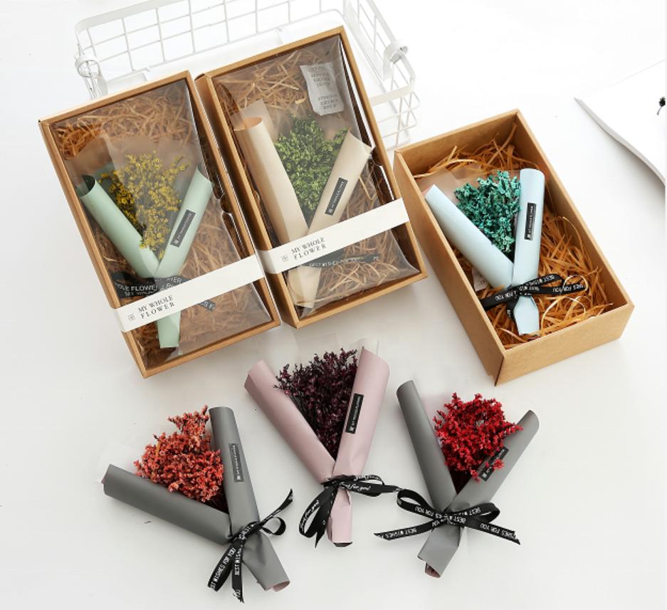 All Stars ช่อดอกไม้แห้งดอกไม้ของขวัญกล่องวันวาเลนไทน์หญ้าคริสตัล Bouquet วันเกิดปัจจุบัน
