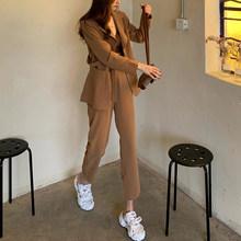 Женский брючный костюм цвета хаки, повседневный комплект из 2 предметов, однобортный пиджак и брюки с высокой талией, Корейская уличная мода(Китай)