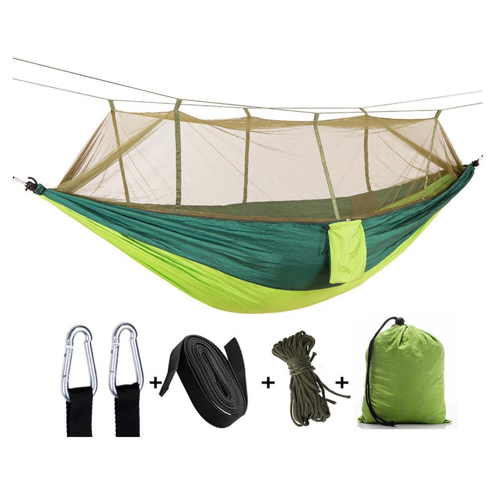 Leichte Nylon Tragbare Dschungel Outdoor-Camping Einzigen Doppel Schlafen Hängematte mit Moskito Net