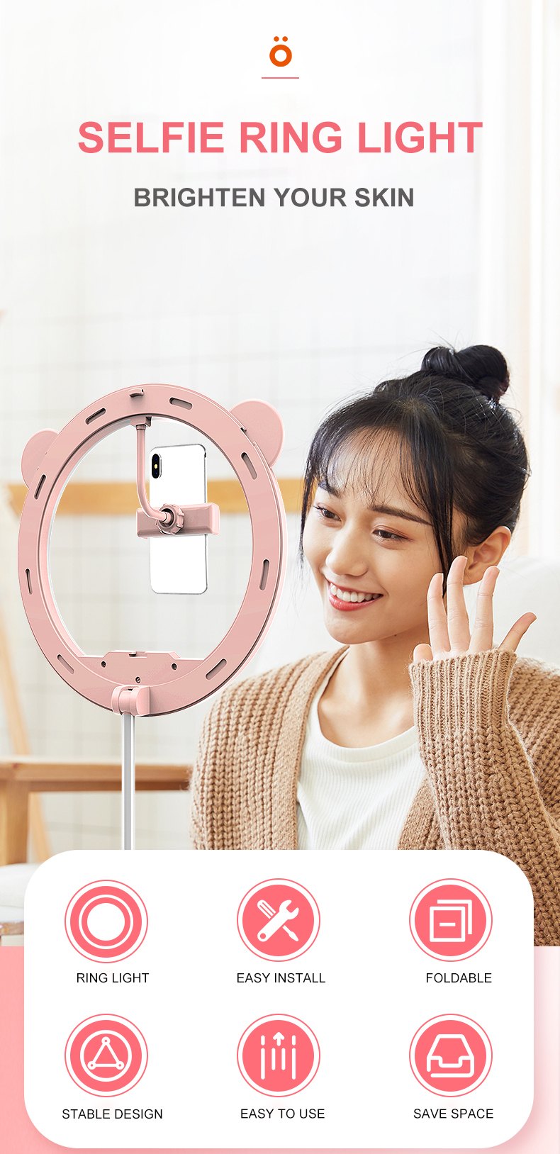 11inch Selfie Led Circle Beauty Ring Light Tiktok Youtube Live Stream Makeup Ring Light with Stand & Phone Holder
