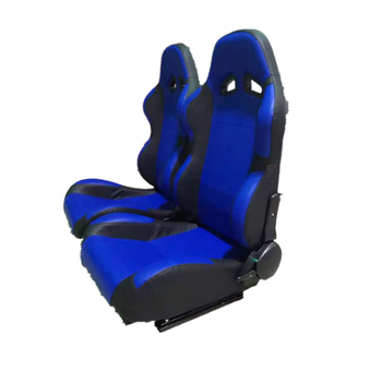 Fully Reclinable PVC Leather Blue/Black Racing Sseat+Slider Rail Passenger Side Car Seat Foams