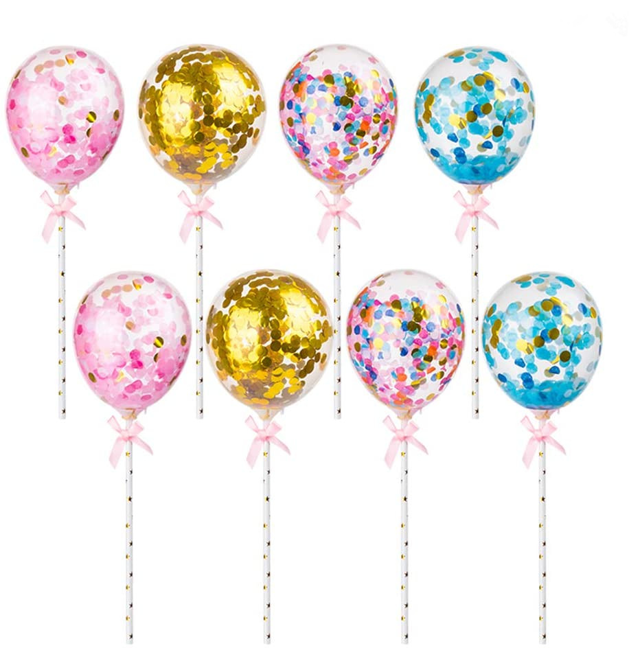 5inch Balloon Stick <strong>Cake</strong> Toppers Party Balloon Decoration Latex Confetti <strong>Cake</strong> Balloons for <strong>Wedding</strong> Birthday