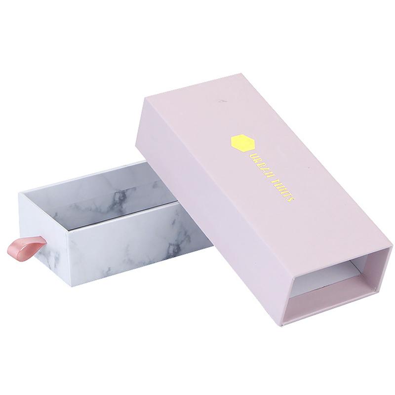 Shenzhen En Gros Logo Personnalisé Beauté Ongles Emballage Blanc Papier Boîte De Tiroir pour Ongles Artificiels Emballage