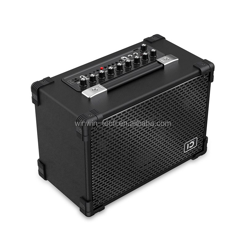 Gitar Bass All-In-One Amplifier Portable Rechargeable Karaoke Sistem dengan UHF Handheld Mikrofon.