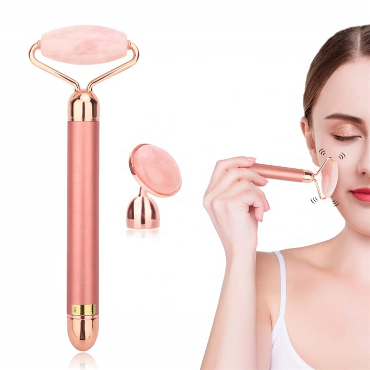 2 in 1 Kit DIY Detachable Heads Electric Face Roller Wrinkle Remove Facial Massager Vibrating Rose Quartz 24k Gold Beauty Bar