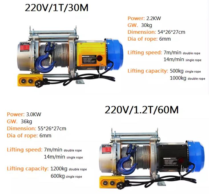 Hoge Kwaliteit Type Bouw Hoist Mini 220V Elektrische Lier