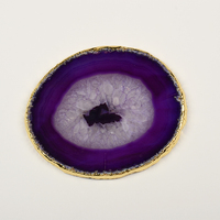 Wholesale natural polished New Design Gold Edge Agate slices coaster with golden rim
