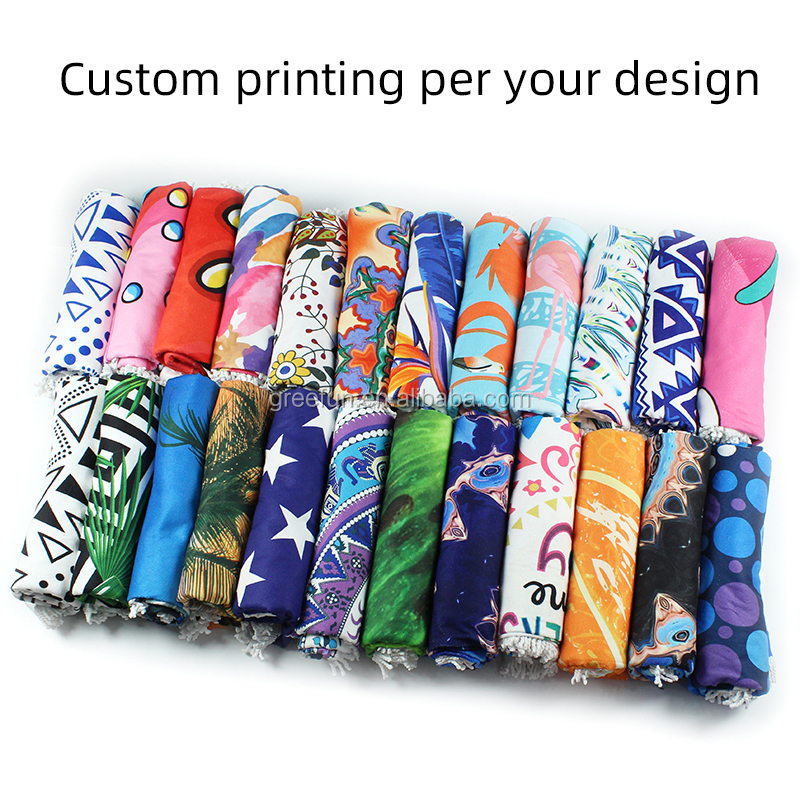 Custom Size Promotion Cheap Beach Towel, Advertise Promos Gift 100% Terry Cotton Colorful Reactive Printed Pool Bath Beach Towel