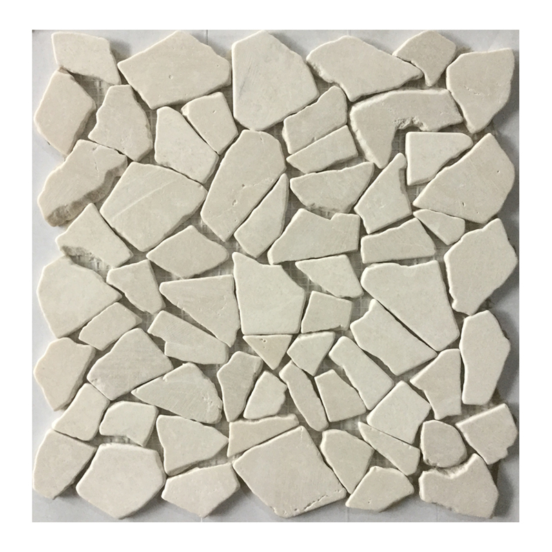 Irregular <strong>white</strong> <strong>pebble</strong> natural stone on mesh for garden floor <strong>tile</strong>