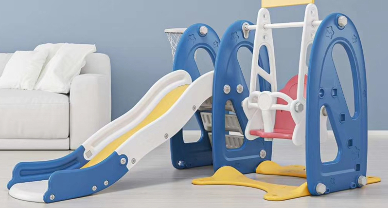 Blue and white Plastic swing set for kids and children indoor and outdoor play