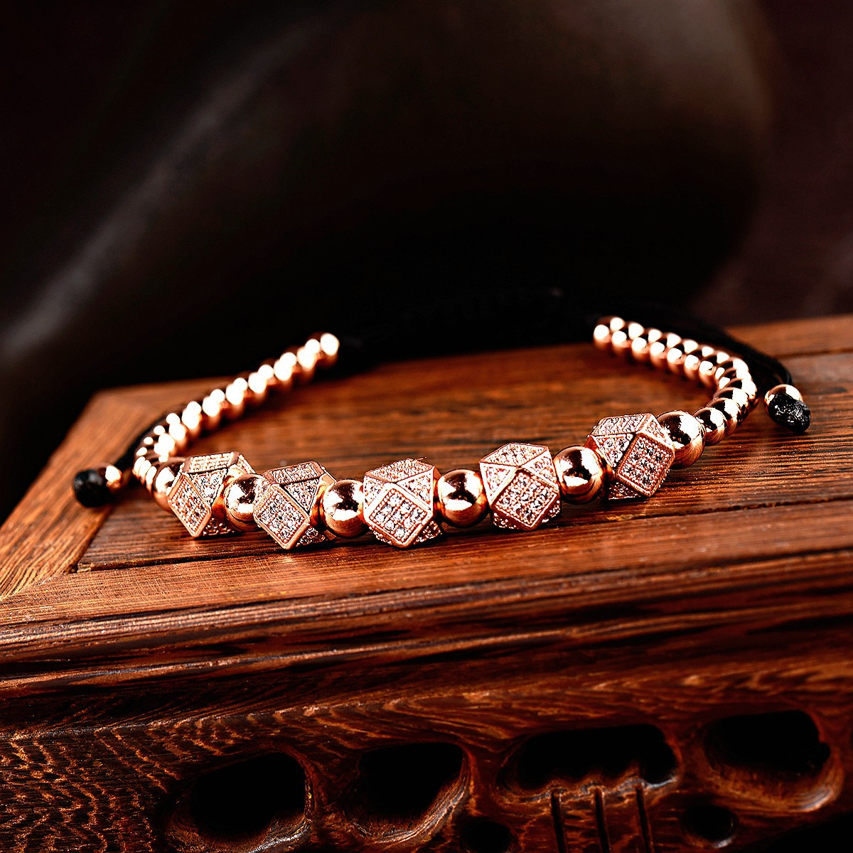 Fashion Copper Beaded Zircon Charm Men's Braided Bead Bracelet Adjustable Micro Pave CZ Beads Macrame Rope Bracelet