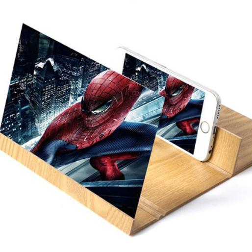 12 Inch Desktop Folding HD Video Holder Phone Stand Wood Bracket 3D Mobile Phone Screen Magnifier
