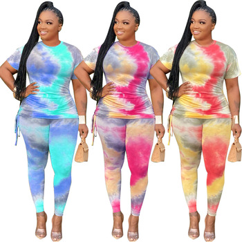 Wholesale popular high quality tie dye plus size casual clothing two piece set women T-shirt and trousers set