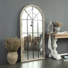 Framed Mirror Framed INNOVAHOME Farmhouse Garden Country Style Decorative Shabby Chic Hanging Large Framed Floor Mirror Wood Arch Window Wall Mirror