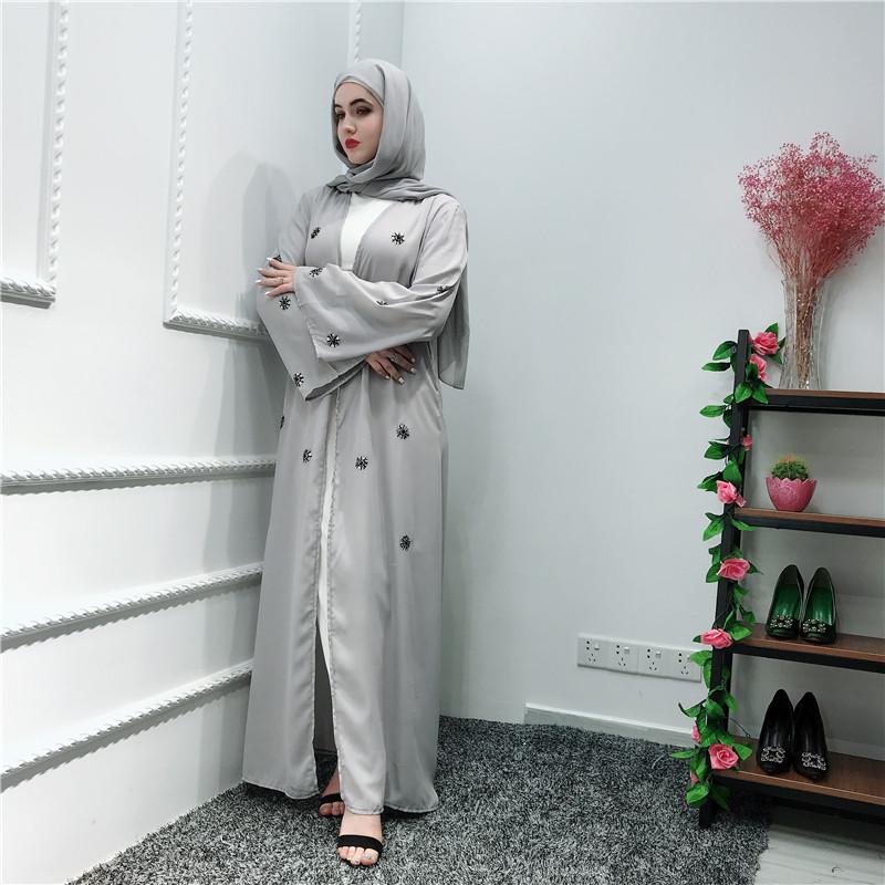 2019 NewTurkish Rhinestones Women's Kimono Abaya Open Front Long Maxi Dress Robe Muslim Jilbab Kaftan Cardigan Islamic Abayas