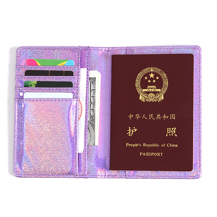 PU document package passport holder lady laser sequin wallet