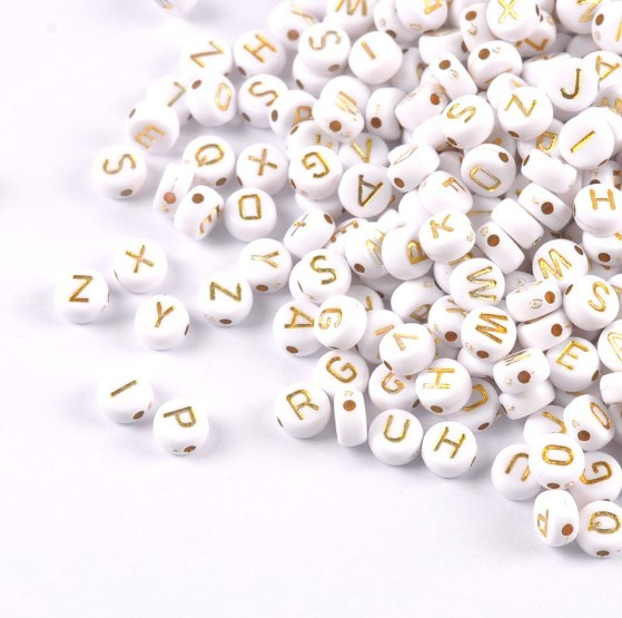 3600pcs 4*7mm Mixed white and gold Acrylic Alphabet/Letter Round Beads For Jewelry Making
