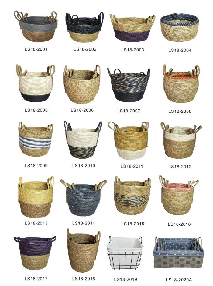 Large Beige Jute Striped Handwoven Natural Corn husk and Straw Hanging Basket for Home Storage