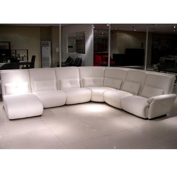 White Leather L Shaped Corner Sofa